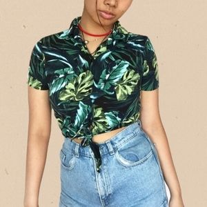 American Apparel Jungle Leaf Print Crop Top M/L